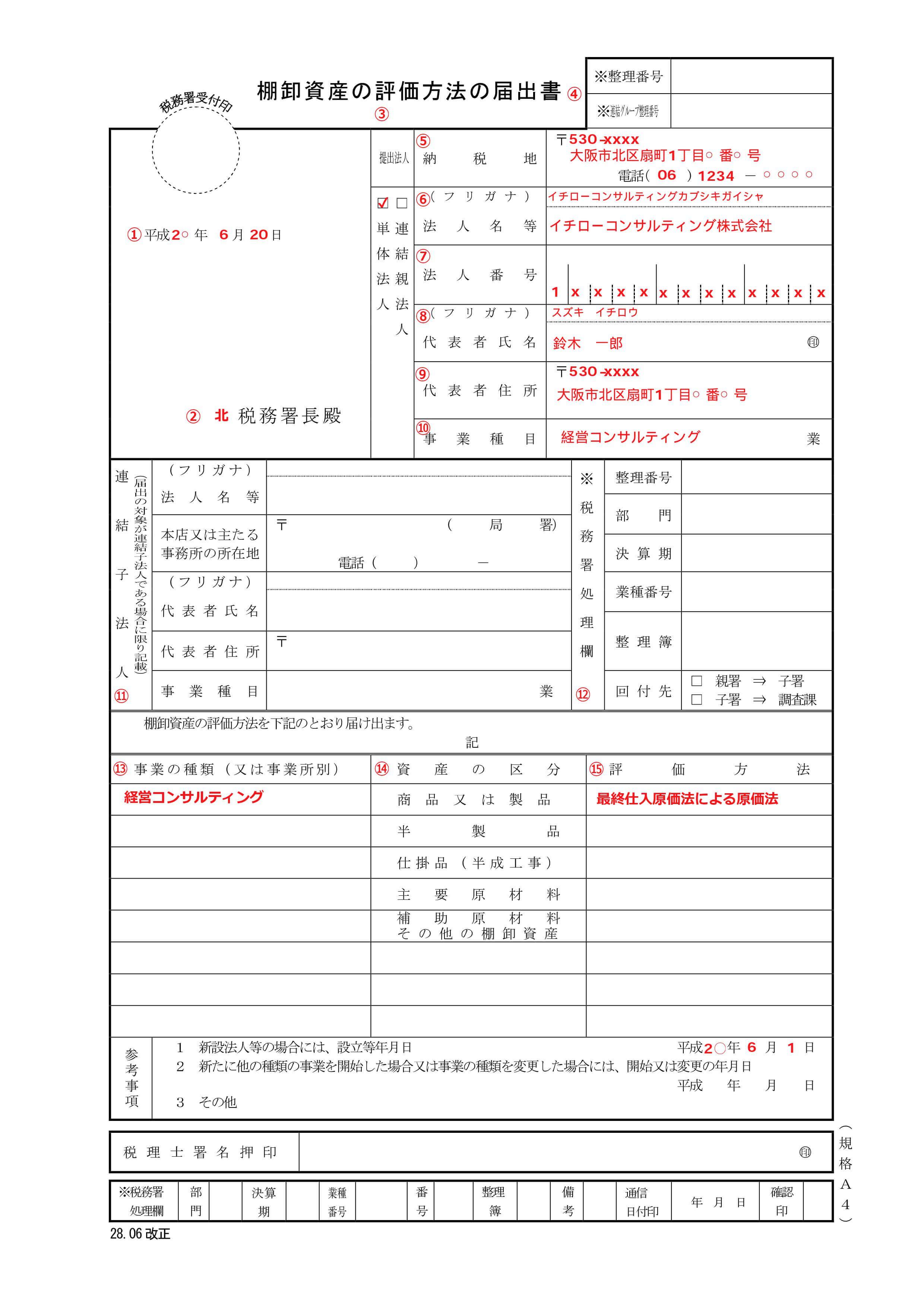 棚卸資産の評価方法の届出書 記入例